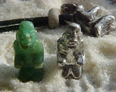 SHAMAN Pre-columbian Olmec burial figure bead reproduction pendant in Sterling Silver on cord with genuine bead PPC4