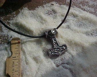 THOR Hammer Pendant with Double sided Celtic Knotwork design  Cast in Sterling Silver