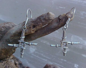 St BRIGiD or St BRlDGlT Irish cross EARRINGS cast in Sterling Silver KAM Copyrighted Design