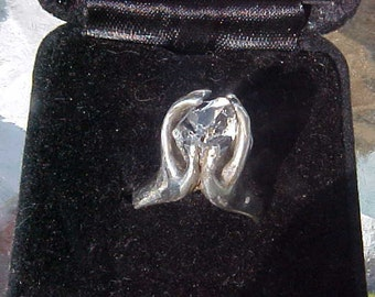 Hands Holding TREASURE Herkimer DiAMOND  a custom KAM Sterling Silver Mounting