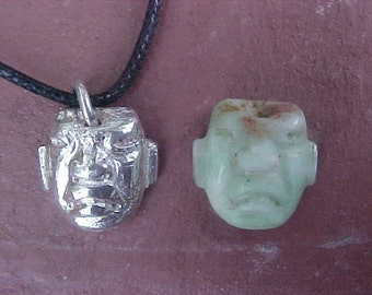 SHAMAN Pre-columbian Olmec burial FACE bead reproduction pendant in Sterling Silver on cord with genuine bead