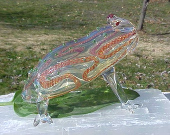 Frog Animal Bullfrog TOTEM Spirit  Striped Green dot fumed Glass PlPE large size FREE Us Shipping