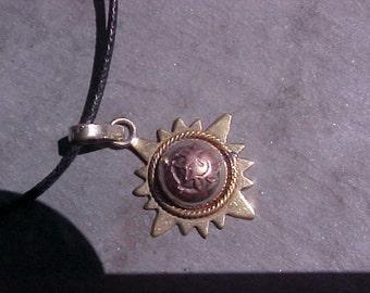 VINTAGE Tibetan Healing 3 Metal SUN and MOON celestial pendant