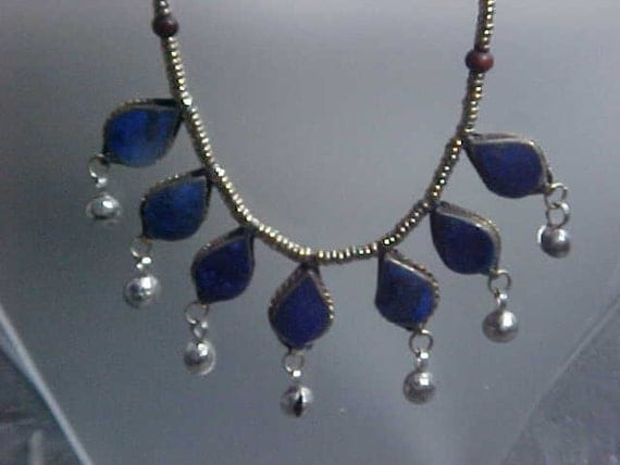VINTAGE LAPIS Lazuli Afghanistan Tribal Belly Dancing Gillet Silver  Necklace