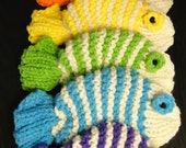 Rainbow Collection in White -  Set of 6 Fish Dish Scrubbies in Red, Orange, Yellow, Green, Blue and Purple