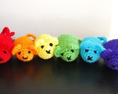 SALE - 6 Cat Toy's with ORGANIC Catnip Inside - Red, Orange, Yellow, Green, Blue & Purple