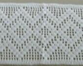 Vintage Swedish hand Made  Crochet Table Mat Runner White  10x28 inch