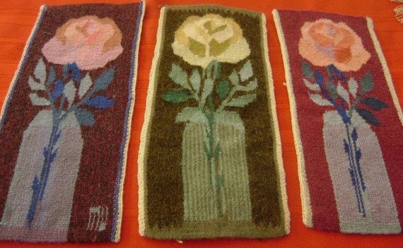 """Vintage Lot 3 Wall Hangings Wool Flemish Art Needle Work on woven wool Floral Design 5 """"x 12"""""""