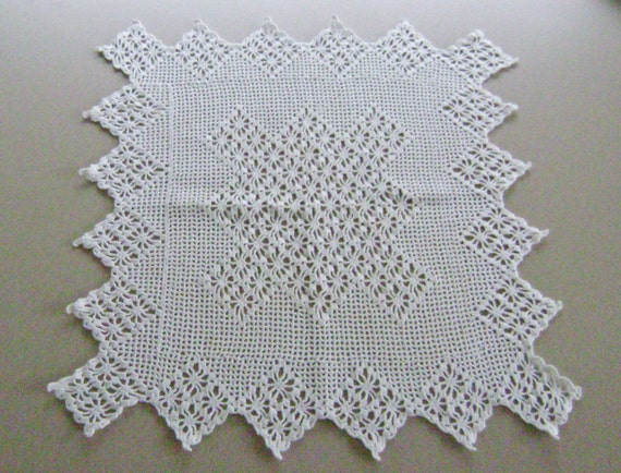 Vintage Swedish Made Filet Crochet Table Mat or pillow top White  18 inch SQ