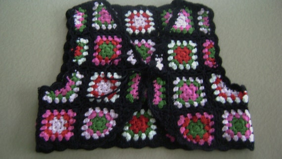 "Child's Vest hand crochet Granny Squares  Swedish Made Hand Knit 10"" long 12"" across"