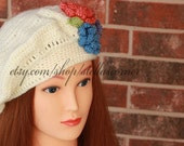 Crochet Beret, Knit White Beret with Flowers, White Slouch Hat, Unique Beret with Flowers,White Crochet Beret