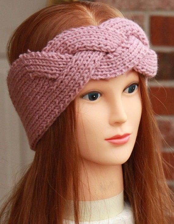 Twist Headband Knitting Pattern : Headband Earwarmer Knit Crochet Twist Pink by StellasCorner