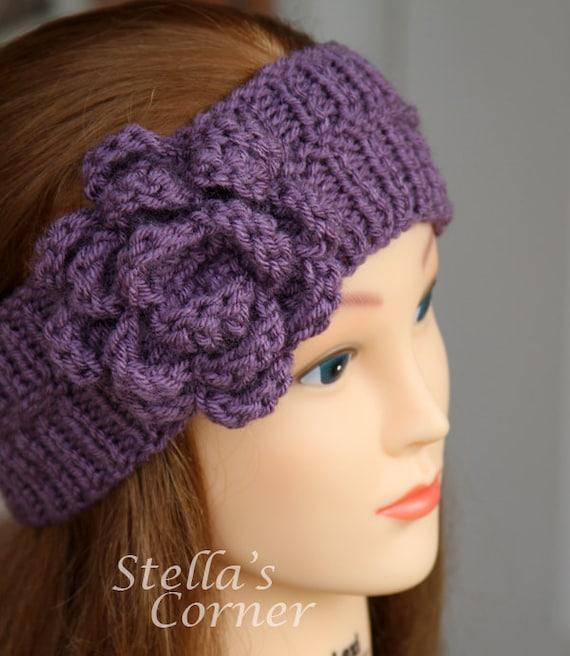 Knitted Flower Pattern For Headband : Items similar to Flower Headband, Knit Headband, Purple Headband, Yarn Headba...