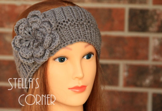Knitting Pattern For A Headband With Flower : Items similar to Knitted Headband, Gray Flower Headband, Knit Headband, Flowe...