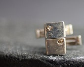 Rectangular Sterling Silver and Champagne diamond cufflinks