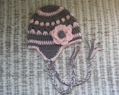 Girls Hat ear flap beanie in Gray and Cotton Candy Pink / 1-5 year sizes / photo prop