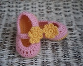 Baby Booties  - Pink and Butter Floral Mary Janes