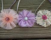 Set of 3 / 2.5in. Vintage inspired flower headbands / Newborn Photo Prop