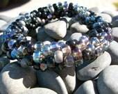 Black Diamond Shimmer Bead Crochet Bangle