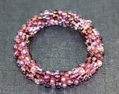 Purple Velvet Shimmer Bead Crochet Bangle