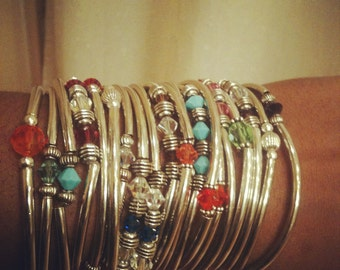 Set of 20 Silver & Swarovski Bangles by ChoklatTea