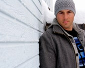 Mens Crochet Cabled  Beanie