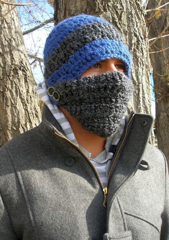 Crochet Button Face Mask Beanie