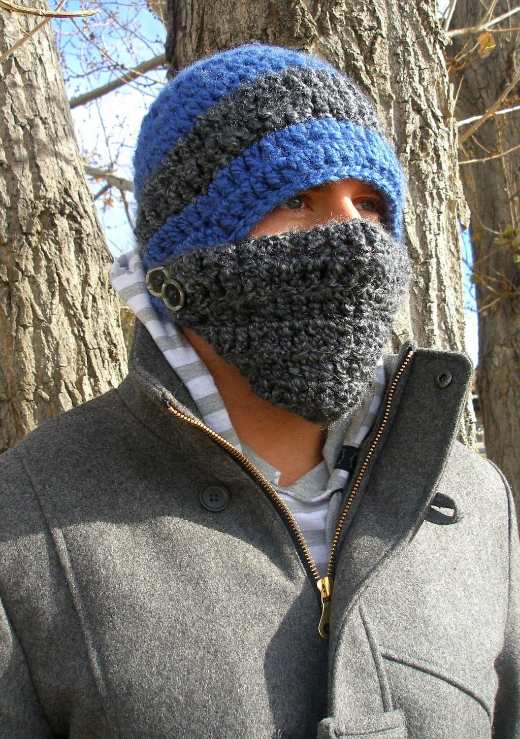 Crochet Button Face Mask Beanie