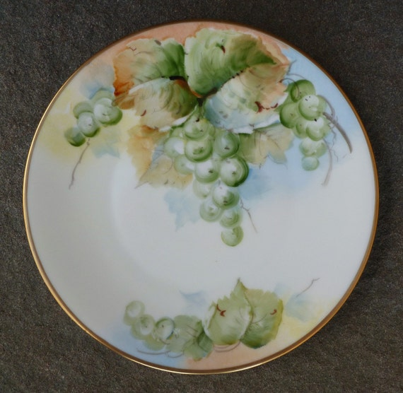 Grapes Amp Leaves Plate Hand Painted Bavaria Antique