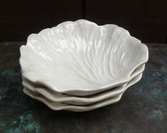 Set 3 White Majolica Leaf Bowls or Dishes. Vintage Pottery.