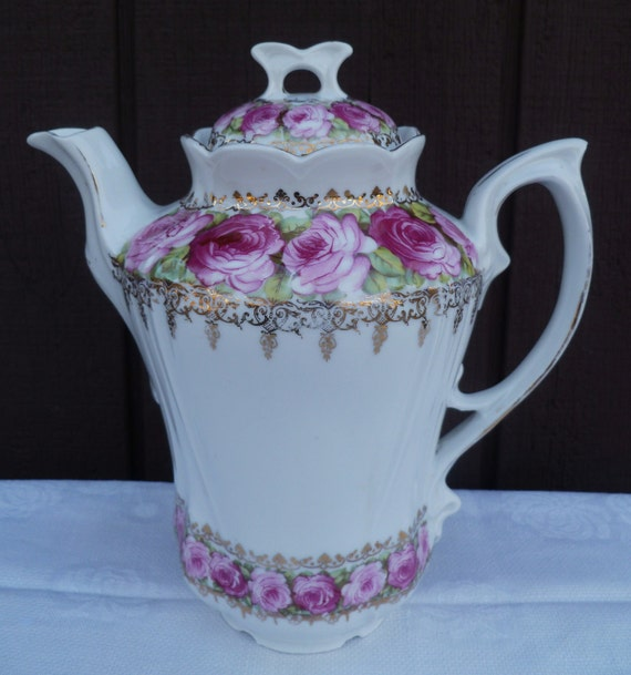 Antique Chocolate Tea Coffee Pot. Pink Roses. Early 1900s. Made in Germany. Bonus Candy Dish.