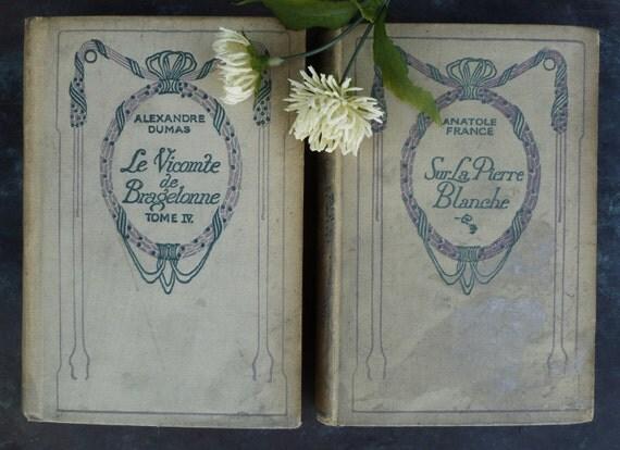 2 Vintage French Books. 1931. Le Vicomte de Bragelonne by Alexandre Dumas. Sur la Pierre Blanche by Anatole France.