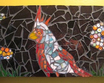 Cardinal Mosaic Art  Wall Panel