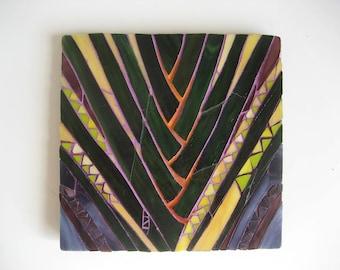 Leaf Pattern Mosaic Wall Panel