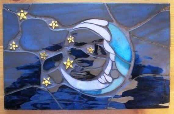 Sleeping Moon Mosaic Art Suncatcher Panel