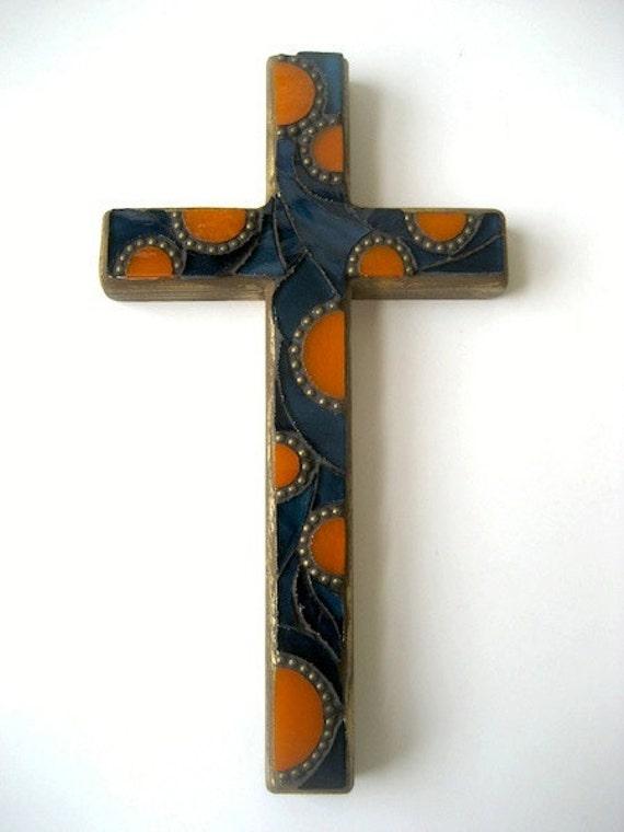 Blue and Orange Mosaic Cross
