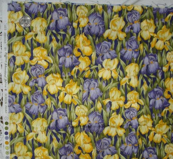 Iris Floral Cotton Fabric Print Hoffman 1 2 Yd By Lilmopeep1