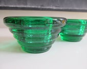 Pair of Italian Green Glass Candle Holders