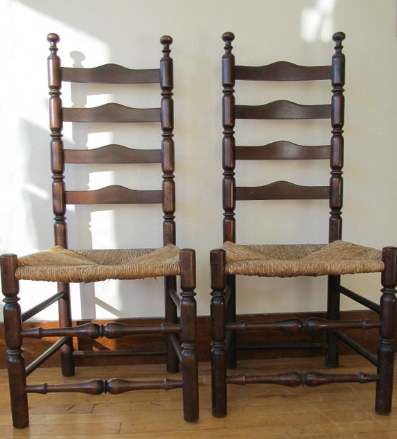Pair of Antique Ladder Back Chairs