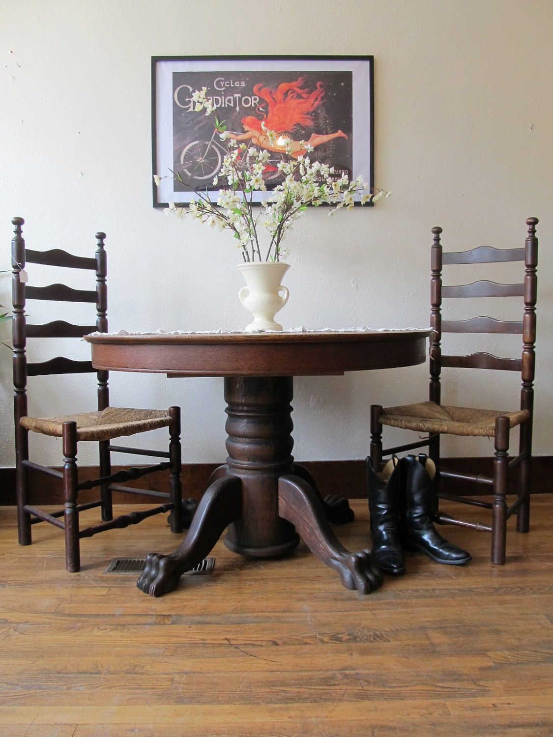 On Hold Antique Oak Claw Foot Table
