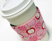 Cup Cozy Sleeve Pink Apple Reversible / Reusable Eco Friendly