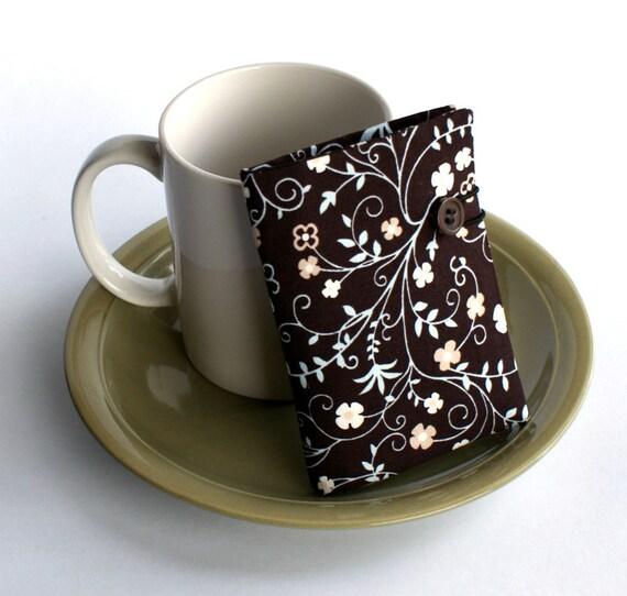 Tea Wallet - Brown, White, Blue, Floral Damask