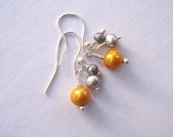 Yellow and Blue Silver Pearl Earrings
