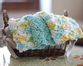 SALE Crocheted Cotton Washcloths Islands in the Sea Set
