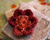 CLEARANCE Brooch Crocheted Beaded Berries and Tangerines