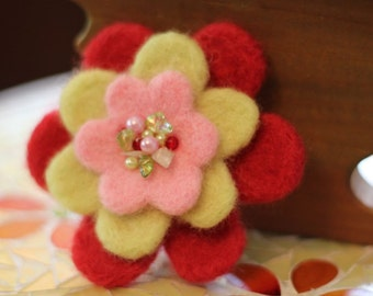 SALE Needle Felted Brooch - Beaded Flower