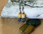 Earrings in Creams and Antiqued Pewter