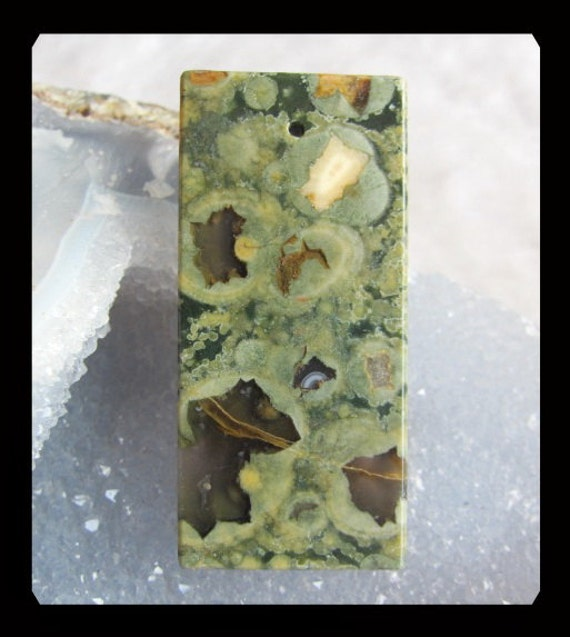Rainforese Stone Plane Pendant Bead,58x27x7mm,24.31g