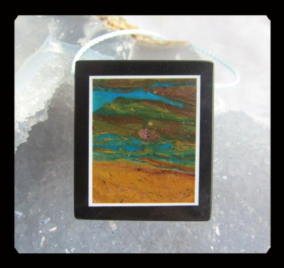 Blue Opal,Black Stone  Intarsia Pendant Bead,32x28x6mm,12.79g
