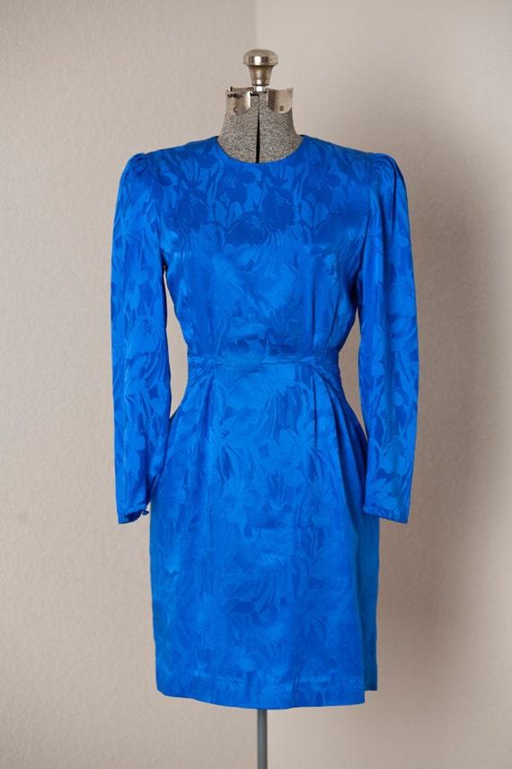 S A L E //  Womens 1980s Vintage Blue Floral Silk Mini Dress // Petite Small